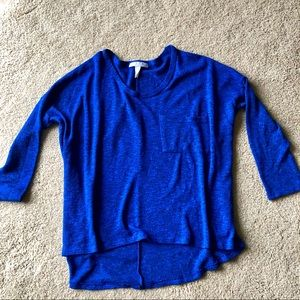 Flowy Royal Blue Quarter Sleeve Shirt